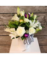 Lovely Roses and Lily Arrangement