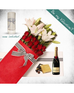 Roses, Lily and Moet Gift Box