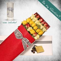 24 Long Mixed Roses Gift Box
