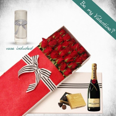 24 Long Roses and Moet Gift Box