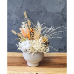 Preserved Small White Autumn Floral Arrangement