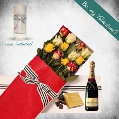 12 Long Stems Mixed Roses, Moet Gift Box