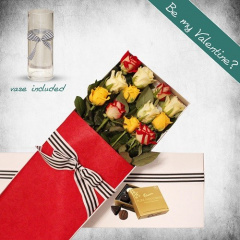 12 Long Stems Mixed Roses Gift Box