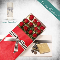 12 Long Stem Roses Gift Box
