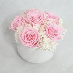 Pink Everlasting Rose - Marble Vase