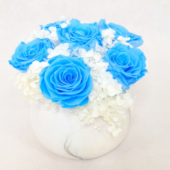 Blue Everlasting Rose - Marble Vase