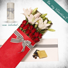 Roses and Lily Gift Box